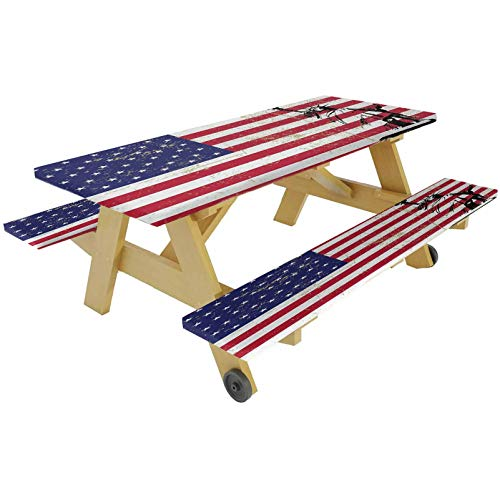 72' Polyester Picnic Table and Bench Fitted Tablecloth Cover,Statue of Liberty USA Flag Retro Style Enlightening World Famous Icon Elastic Edge Fitted Tablecloth for Picnics Parties Outdoor,Dark Coral