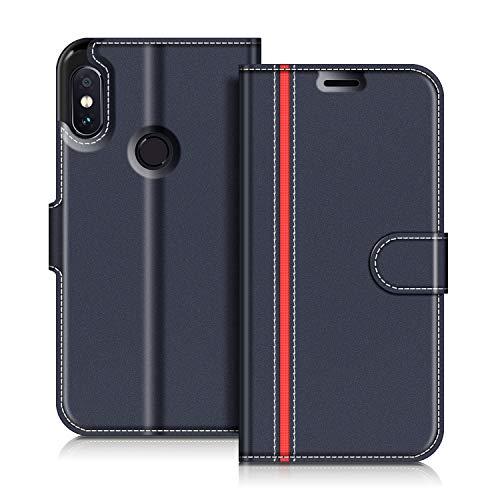 COODIO Handyhülle für Xiaomi Redmi Note 5 Handy Hülle, Xiaomi Redmi Note 5 Hülle Leder Handytasche für Xiaomi Redmi Note 5 Klapphülle Tasche, Dunkel Blau/Rot