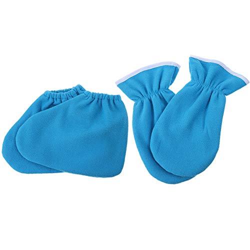 Beaupretty 4 stuks paraffinewashandschoenen en enkellaarsjes, spa, voet- en handbedekking, elastische opening, geïsoleerde handschoenen, sokkenvoering voor vrouwen, blauw