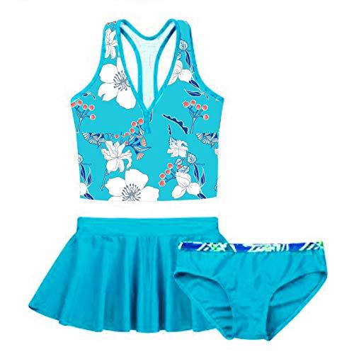 TiaoBug Mädchen Badeanzug 3pcs Tankini Bikini Sets - Badeshirt Oberteil + Badehose + Biniki Slip Shorts Kinder Schwimmanzug Badebekleidung gr. 92-152 Hellblau Geblümt 158-164