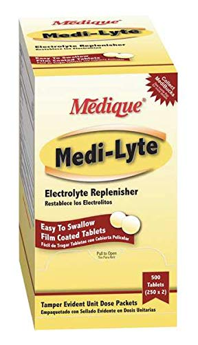 Medique Products 03013 Electrolyte Tablets w/ Potassium for Cramps, Heat Fatigue, Exhaustion Medi-Lyte, 500 Tablets (250 x 2 Packs)