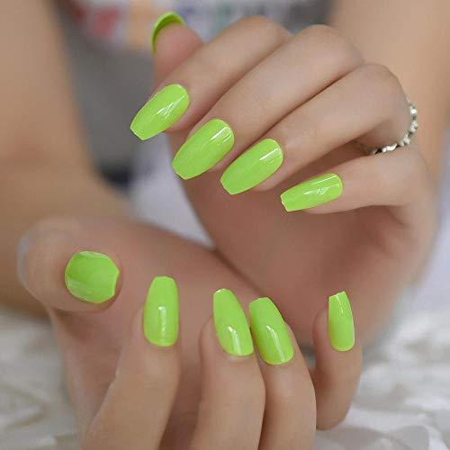 Néon Vert Élégant Faux Ongles D'été Brillant Moyen Populaire Cercueil Nail Lisse Manucure Accessoires 24 pcs