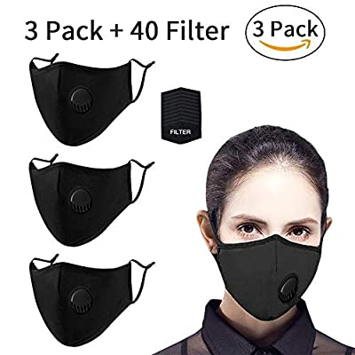 40 Pcs Filter Replacements by seilliet, Filters for Fashion Protective Face Shield, Unisex Face Mask, Reusable Washable Breathable Mouth Masks