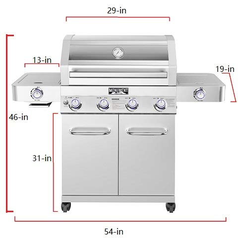 Monument Grills 35633 Stainless Steel 4-Burner Stainless Propane Gas Grill with Clearview Lid, LED Controls, and Side & Side Sear Burners