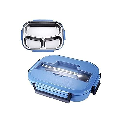 JZUKU Lunch Box kids Stainless Steel Compartment Lunch Box Environmentally Friendly Portable Lunch Box Heat Preservation Large Capacity Lunch Box Lunchbox With Compartment (Color : Blue)