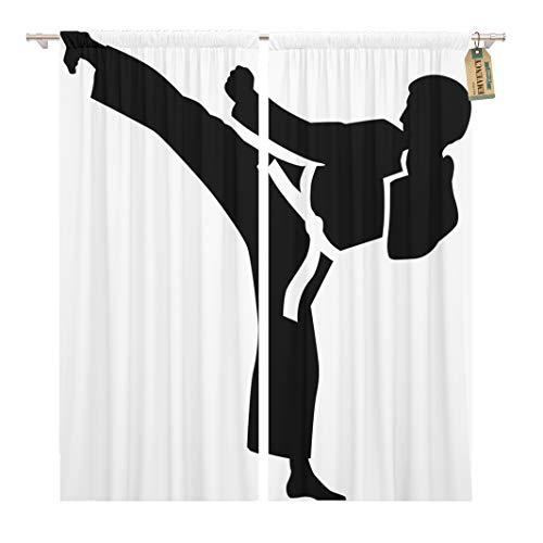 Golee Window Curtain Taekwondo Karate Kick Judo Silhouette Fight Jujitsu Martial Aikido Home Decor Pocket Drapes 2 Panels Curtain 104 x 96 inches