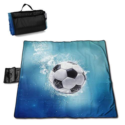 GuyIvan Picknickdecke Fußball Wasserspritzen Fußball Outdoor Stranddecke Tragbare Sandfreie Strandmatte für Erwachsene Picknickmatte