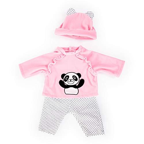 Bayer Design 83884AA Puppenkleidung für 33-38cm Puppen, Hose, Oberteil und Mütze, Set, Outfit mit Pandabär, pink, schwarz-weiß gepunktet