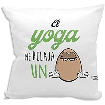 Cojín + Relleno. El Yoga me relaja un Huevo. Agradable Tacto algodón: Amazon.es: Hogar