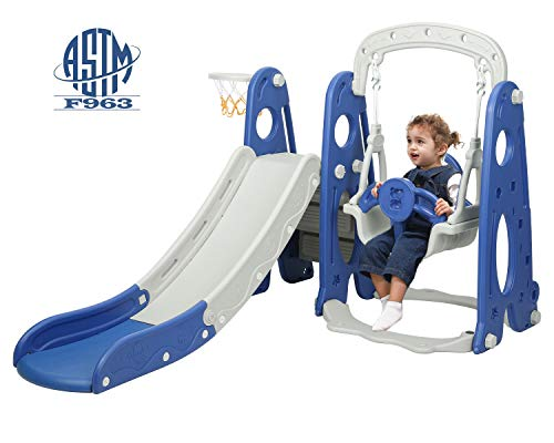 HOMFY Toddlers Climber and Swing Set, 3 in 1 Climber Slides Playset with Basketball Hoop for Boys Girls, Kids Climber Freestanding Slides for Indoor Outdoor Playground Toy (Blue)