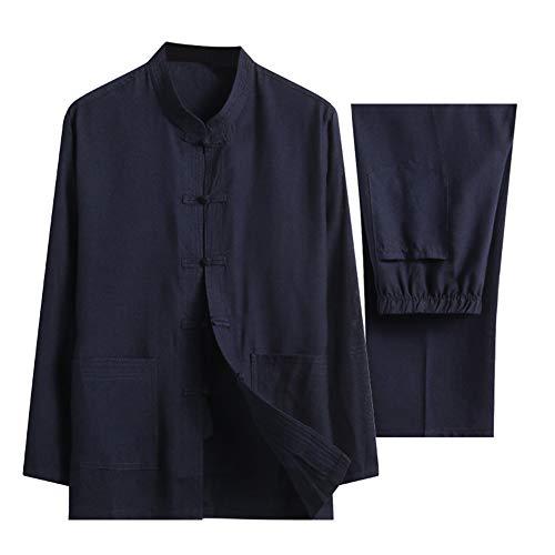 Zhuhaixmy Baumwolle Leinen Tai Chi Set für Herren - Zwei Stück Chinesisch Traditionell Tang Anzug Kampfkunst Kleidung Hemden Hose (Marine L)