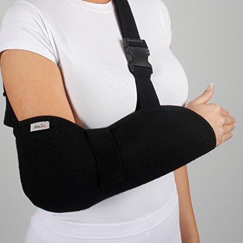 ArmoLine Cabestrillo para brazo de lujo - Cabestrillo inmovilizador de hombro - para adultos, negro, para brazos roto, para inmovilizar brazo (L (44-50 cm))