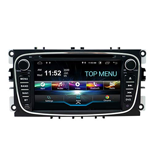 SWTNVIN Android 10.0 Coche Audio Cabezal estéreo Fits for Ford Mondeo Focus Fusion Transit Fiesta Galaxy Reproductor de DVD Radio 7Pulgadas HD Pantalla táctil navegación 2GB+80GB(Negro09)