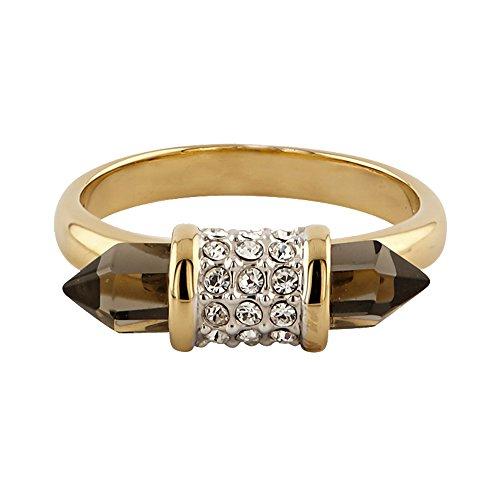 Buckley London Damen Ring vergoldet mit Kristallen und Smokey Glas Messing Glänzend Kristall gelb 430070055