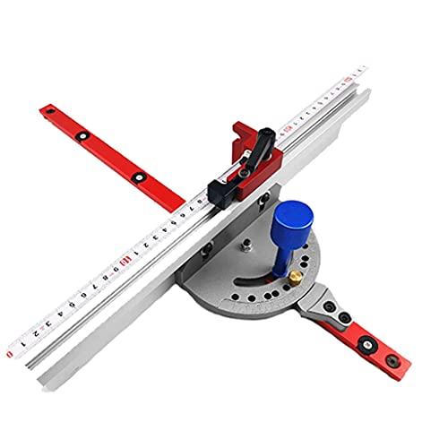 SUOYATE Sierra de mesa duradera regla inglete carpintero con valla de 400 mm y parada ajustable adecuado para sierra de mesa de acero