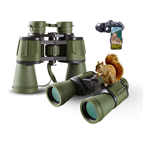 FREE SOLDIER 20x50 Hunting Binoculars for Adults with Smartphone Adapter 28mm Large Eyepiece HD Binoculars for Bird Watching Hiking Sightseeing Travel Concert with BAK4 Prism FMC Lens, Army Green
