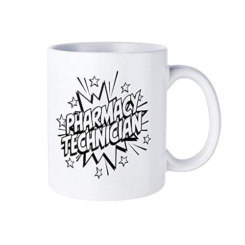 01298 Taza de taza de café para técnico de farmacia, taza de cerámica médica de 11 oz para técnico de farmacia Taza de té para bebidas para el hogar y la oficina, cumpleaños, aniversario, Halloween, N