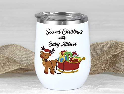 Vaso de vino con aislamiento de acero inoxidable para bebé, diseño de trineo de Navidad, segundo regalo de Navidad