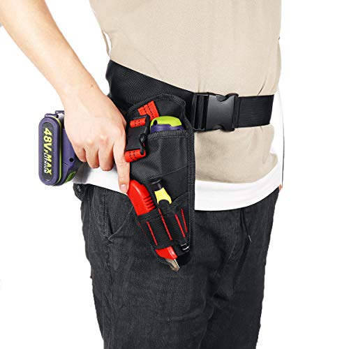 Tool Bag and Storage Bag Lumbering Duty Cordless Drill Holster Tool Belt Pouch Waist Pocket Tool Storage Bag Suitable for Home Office (Color : Black)