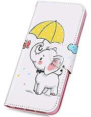 JAWSEU Funda Compatible con Note 7, PU Cuero Flip Libro Billetera Tapa Carcasa con Diseño Soporte Plegable Cierre Magnético Ranura para Tarjetas Antigolpes Protectora Funda,Elefante-2