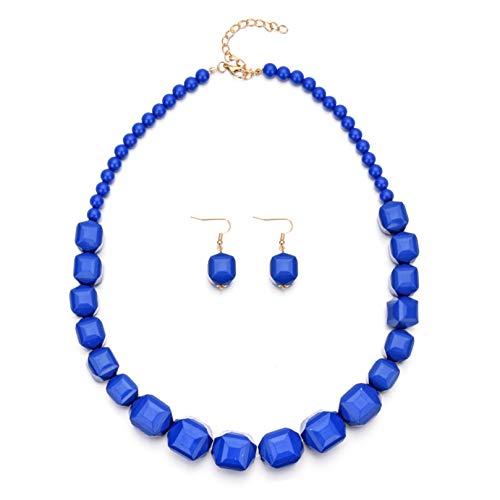 BCDZZ Juego de 3 pendientes de resina para mujer, collar con cuentas y pendientes colgantes para suéter, cadena de accesorios, color azul
