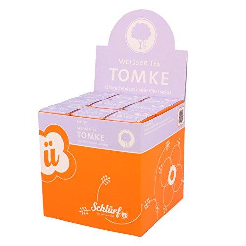 Schlürf Schlürfel Bio Weißer Tee | Tomke No. 27 | 1 Display mit 27 Teebeutel Würfel | Tee Box | Pyramidenbeutel einzeln verpackt | 67,5 g