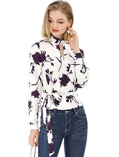 Allegra K Damen Langarm Choker V Neck Crop Blumen Top Bluse Rot M (EU 40)