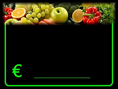 30 Portaprecios cartel porta precios etiquetas de precios plastificadon para frutas y verduras 8,3x11,3 cm + 30 soportes + 1 marcador no tóxico