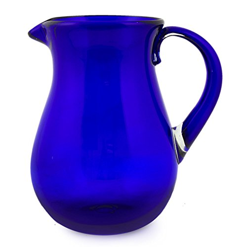 Novica Large Blue Hand Blown Glass Pitcher For Water, Margaritas, Lemonade, 82 Oz, 'Cobalt Charm'