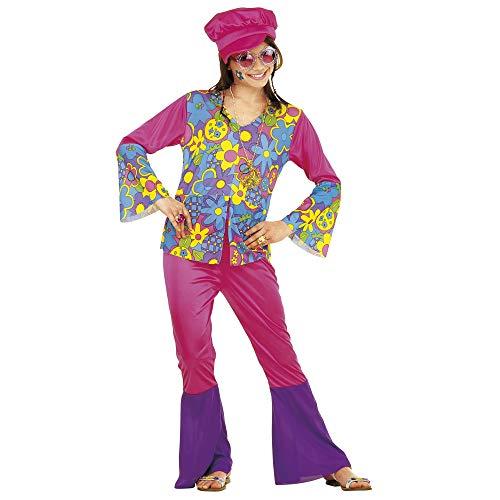 Widmann 38167 - Kinderkostüm Hippie Girl, Shirt, Hose, Hut und Kette, Größe 140