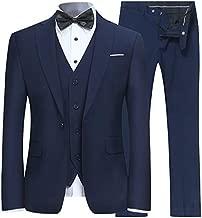 YFFUSHI Men's Slim Fit 3 Piece Suit One Button Business Wedding Prom Suits Blazer Tux Vest & Trousers Navy