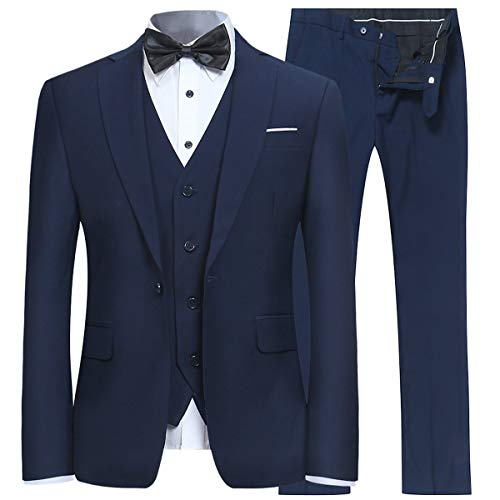 Men's Slim Fit Peak Lapel Suit Blazer Jacket Tux Vest & Trousers 3-piece Suit Set