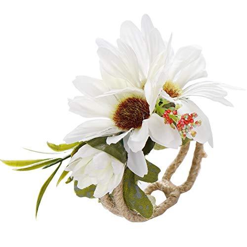 weichuang Pulsera elástica para dama de honor, hecha a mano, de tela, diseño de flores, para boda, baile, decoración de flores (color: A1)