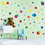 CORRURE Colorful Polka Dot Home Wall Decals (255pcs) - Easy Peel and Stick Decor Stickers for Baby Nursery, Kids Toddler Bedroom, Living Room, Safely Removal from Walls, Assorted Size Decal Dots