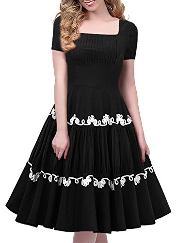 Miusol 50er Retro Rockabilly Kleid Audrey Hepburn Schwingen Bestickt Cocktailkleid Abendkleid Schwarz Gr.S - 3