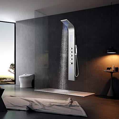 Elbe Duschpaneel Edelstahl mit Thermostat, 2 Massagendüsen, Wasserfalldusche, Kopfdusche, Handbrause, blaues LED-Licht, 165 x 20 x7 cm Full-Size-Design