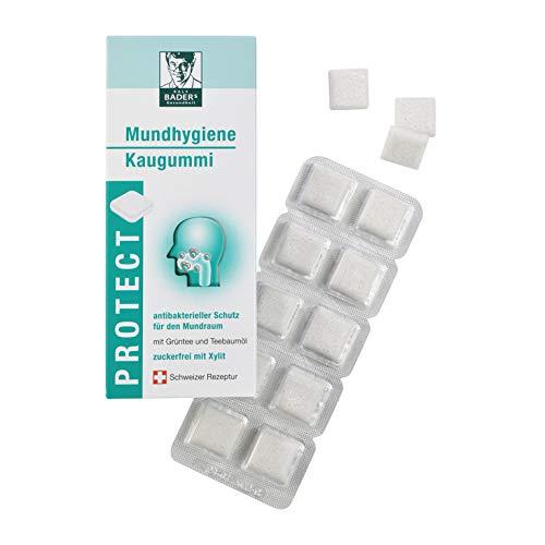 BADERs Protect Mundhygiene Kaugummi aus der Apotheke. Antibakterieller Schutz für den Mundraum mit Grüntee und Xylit. 20 Kaugummi-Quadrate