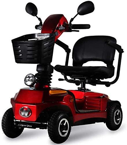 Silla de ruedas eléctrica plegable 4 ruedas Scooter eléctrico for Adultos Mayores de energía Scooter Heavy Duty scooter, plegable, que se puede abrir Baranda, 52cm ancho de los asientos, 47kg con la b