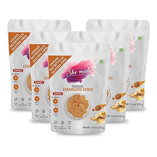 She Made Foods Grain Free, Paleo, Vegan Crackers, Caramelized Onion Flavored - Low Carb, Gluten Free, Almond Flour Crackers - Healthy Snack, Tasty Gourmet Food, Pack of 5 (7.4 ounces each)