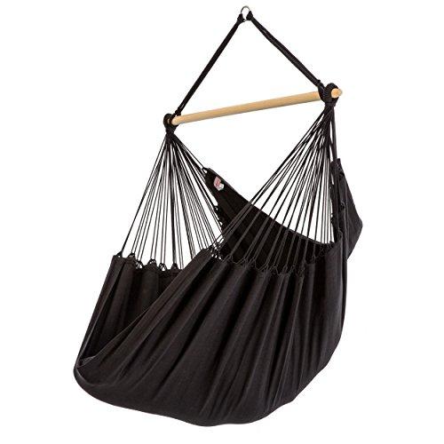Fauteuil suspendu XL en pur coton 130 x 200 cm, capacité de charge 150 kg, 120 cm en bois de frêne noir
