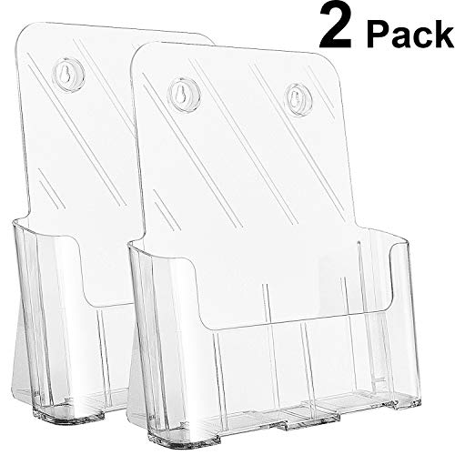 Ktrio Acrylic Brochure Holder 8.5 x 11 inches Plastic Acrylic Literature Holders Clear Flyer Holder Rack Card Holder, Magazine, Pamphlet, Booklet Display Stand Trifold Holder Desk or Wall Mount 2 Pack