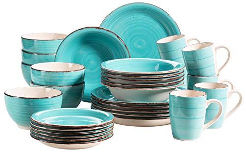 MÄSER 931614 Bel Tempo II 30-teiliges Vintage Geschirr Set für 6 Personen, handbemaltes Keramik Kombiservice in Türkis, Steingut