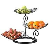 Duihk Cesta de Alambre de Metal Apilable, Cesta de Frutas Canasta De Frutas Que Mantiene Sus Frutas Frescas para Cocina Baño Sala de Estar Oficina Expositor Multifunción,Negro