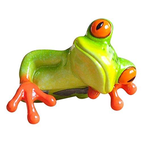 SGerste - Figura decorativa de rana verde 3D, de resina, para el hogar, oficina, escritorio, ordenador, manualidades – # 2, como se describe