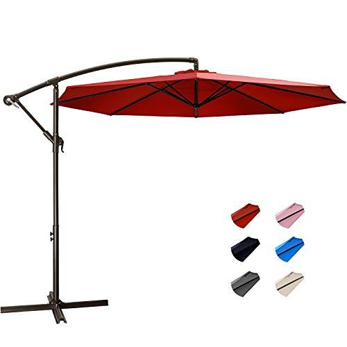 KITADIN Offset Umbrella - 10Ft Cantilever Patio Hanging Umbrella,Outdoor Market Umbrellas with Crank Lift & Cross Base (10 Ft, Red)
