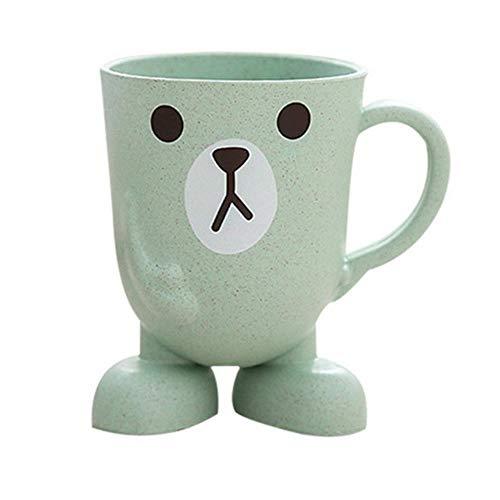 LLAAIT Tarwe Straw Cartoon Dier Tandenborstel Cup Badkamer Mondwater Reizen Thuis Tandenborstel Houder Cup Badkamer Accessoires, Groen