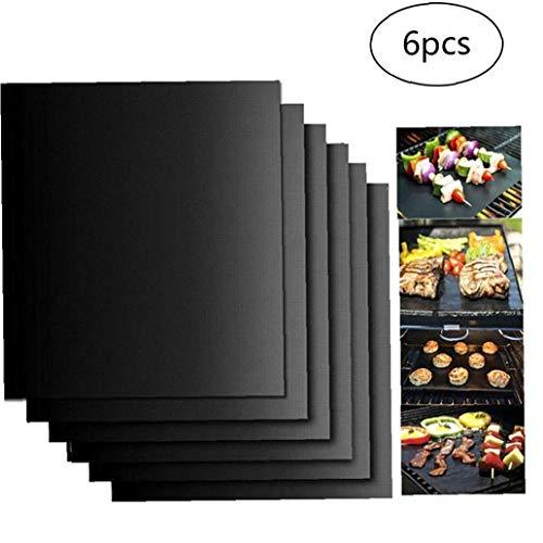 Newin Star BBQ Grill Mat 6Pcs Non Stick Wiederverwendbare Liner Ofen Mikrowelle Resistant Barbecue-Matte für Indoor Outdoor BBQ Arbeiten auf Gas Kohle Elektrogrill Blatt