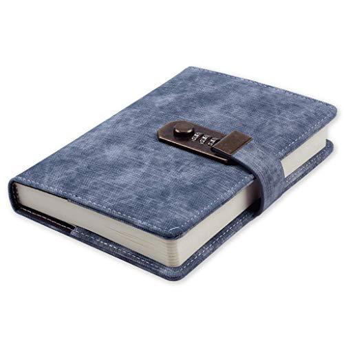 Anjing Vintage Kunstleder Notizbuch Passwort Schreiben Notebook, Tagebuch Mit Schloss Code Passwort,Tagebuch mit Zahlenschloss Notizblock Sketchbook (190x133mm)