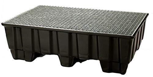 Sicherheits Auffangwanne aus Kunststoff, mit verz. Gitterrost, LxBxH 1230x830x400 mm. Auffangvolumen 235 Liter