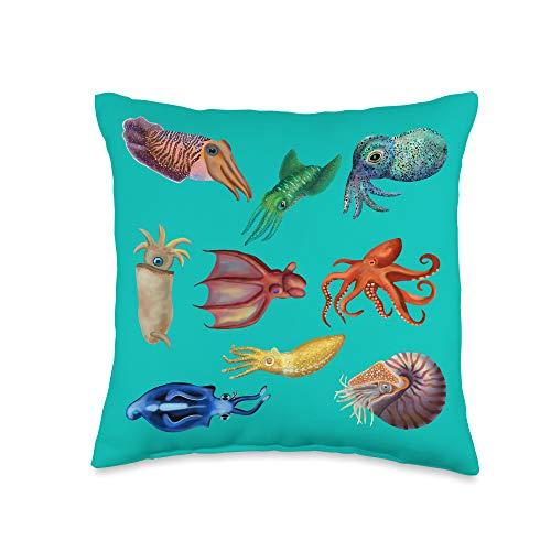 Marine Biology Cephalopod Ocean Art The Cephalopod: Octopus, Squid, Cuttlefish, and Nautilus Throw Pillow, 16x16, Multicolor